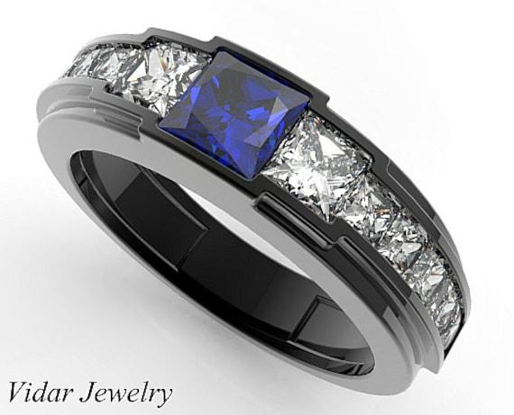 Men/'s Engagement Ring Ring For Him Mens Sapphire Ring Men Gift Jewelry Mens Blue Sapphire Ring Blue Sapphire Wedding Engagement Ring