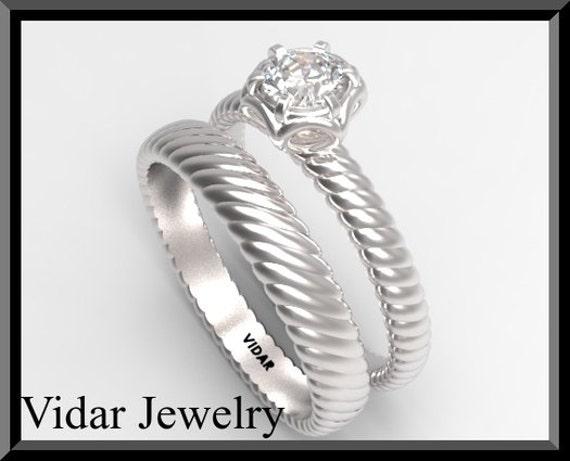 Vintage 14k Białe Złoto Okrągły Diament Vintage Wedding Set Pierścionek Zaręczynowy Rocznika Obrączka Unikalne Wiktoriańskiej Ring Set Art