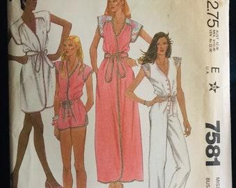 Pantsuit, jumpsuit, coverup, robe McCalls 7581 women's Pattern Comfortable Wardrobe- Women's Casual Clothing, beach wear Size 16
