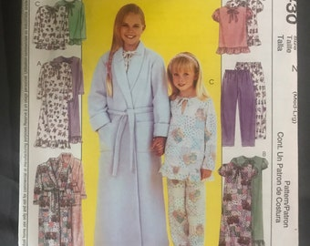 Child Pajamas Pattern, Size Z med lg two-piece PJs top and nightgown, robe, girls nightie, lounging pants, bathrobe McCalls 3430