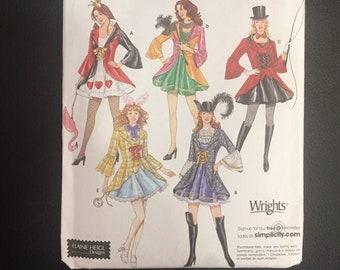Simplicity 3685 Misses' Adult Costume Pattern, Women's Sexy Alice in Wonderland, Queen of Hearts, Rabbit, Mardi Gras, Ring Master, Musketeer