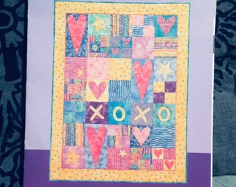 Baby Quilt Pattern, nursery craft pattern, Hugs and Kisses Valentine lap quilt, country decor, hearts XOXO Love wall hanging