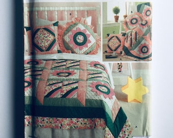Simplicity 7095 Quilt Block Club Sewing Pattern Full Bloom and Roman Stripe Home decor edition