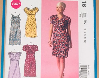 Size B5 McCalls Patterns M7116 Misses Dresses 8-10-12-14-16