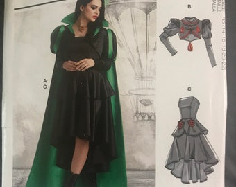 Witch Evil Queen gown/dress, cape, jacket, bolero Halloween Costume Pattern, Cosplay Dress up, Adult Woman Size 14-22 McCalls R10672