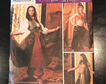 Belly Dancer Genie Gypsy Costume Pattern Simplicity 5359 Blouse Skirt Pants Vest Size RR 14 16 18 20 Woman's Medieval Dress for Ren Fair