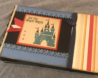Magical theme park Mini Album, Pre-Made Vintage-Style Shabby Chic Scrapbook, One-of-a-Kind Art, Vacation Memories