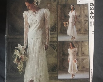 Elegant vintage wedding dress pattern, bridal gown 90s style, Misses Size 16 formal wear, bridesmaid, mother of bride attire McCalls 6948