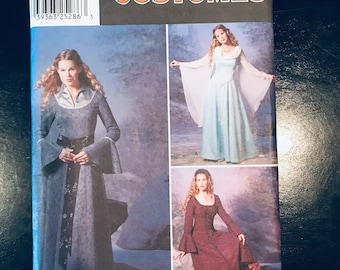 Renaissance Costume Simplicity 9891, Dress with drape sleeves Pattern Size HH 6 8 10 12 Woman's Medieval Gown for Ren Fair