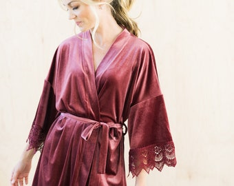 THE ORIGINAL Mauve Velvet and Lace Boho Bridal Robe, Mauve Velvet Bridesmaid Robes With Luxury Gift Bag, Unique Getting Ready Robes
