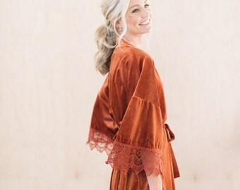 THE ORIGINAL Burnt Orange Velvet and Lace Bridal Robe, Burnt Orange Wedding Day Robe, Unique Bridesmaid Robes, Boho Bridal Robe and Gift Bag
