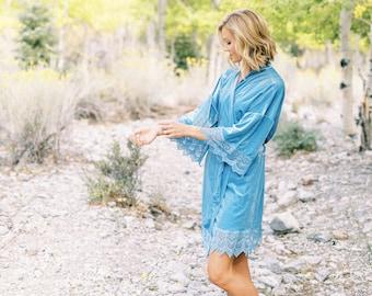THE ORIGINAL Light Blue Velvet and Lace Bridal Robe, Something Blue For The Bride To Be, Light Blue Velvet Robes For Wedding Morning