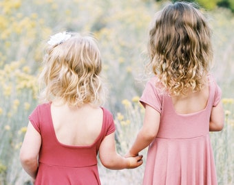 Maxi Twirl Dress For Flower Girls, Rib Knit Maxi Dress For Girls Available in Five Coordinating Colors, Flower Girl Maxi Twirl Dress
