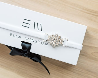 Art Deco Modern Bridal Garter With White Stretch Velvet, Modern Minimalist Bridal Garter With Gift Box, Petite Rhinestone Wedding Garter