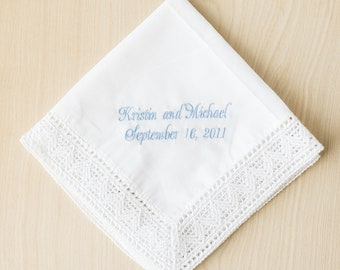 Personalized Bridal Handkerchief Embroidered With Light Blue Thread, Something Blue For The Bride To Be, Custom Mother of the Bride Gift