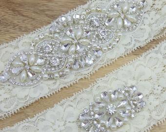 Grace Rhinestone Wedding Garter, Ivory Lace Wedding Garter, Heirloom Bridal Garter, Keepsake Garter, Toss Garter, Wedding Garter Set