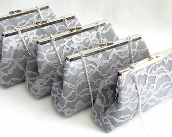 SALE 5% OFF Set of Five Steel Grey, Platinum Grey and Eggplant Wedding Party Clutch Set, Bridesmaid Gift, Bridal Clutch, Bridesmaid Clutch