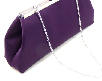 Eggplant And Platinum Grey Bridesmaid Clutch, Bridesmaid Gift, Bridal Clutch, Wedding Clutch, Mother of the Bride Gift, Mother of the Groom