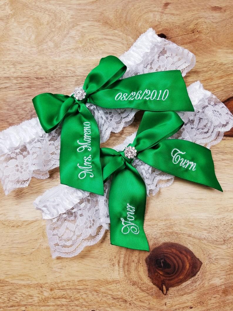 Keepsake Garter Emerald Green Wedding Garter Garter Set Toss Garter Embroidered Bridal Garter Green Bridal Garter You/'re Next Garter