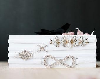 Infinity Rhinestone Modern Bridal Garter, Thin White Velvet Bridal Garter, Times Infinity Wedding Garter, Dainty Garter For The Bride To Be