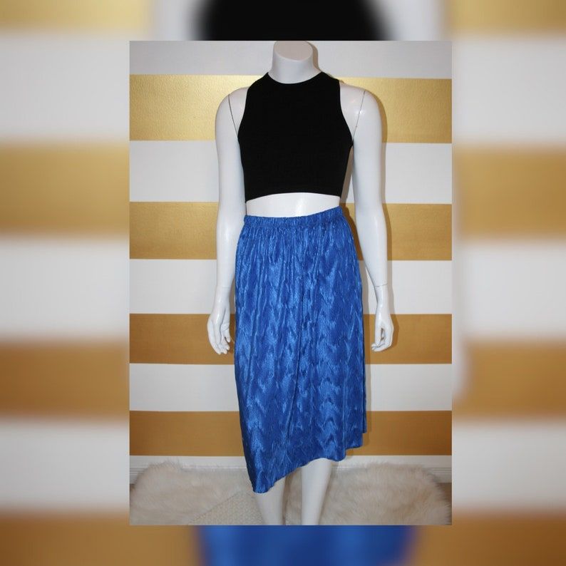 Vintage Crinkle Skirt  Bold  Disco  Below the Knee  High Waisted  Shiny  Textured  Pencil  Straight  90s