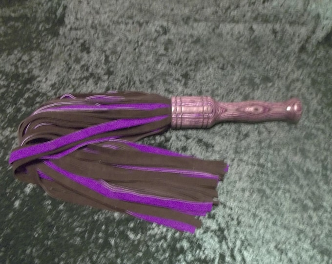 Fabulous Extra Heavy Black and Purple Suede Flogger with Hand Turned Handle! Handmade!