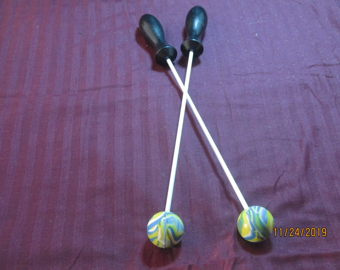 Blue, Green and Yellow Rubber Beater Balls! Handmade! Body Drumming!