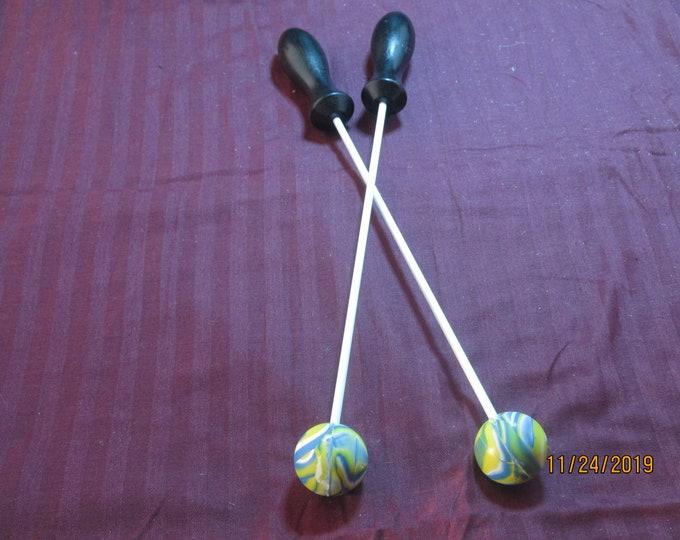 Blue, Green and Yellow Rubber Beater Balls! Handmade! Body Drumming!