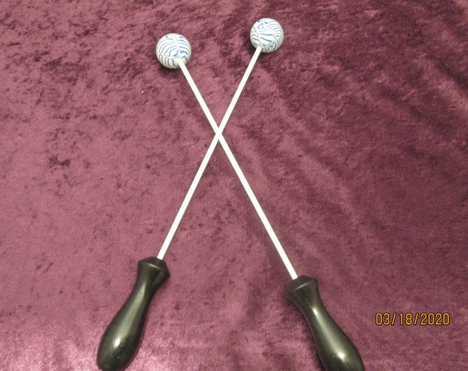 Set of 2 Blue and White Beater Balls! Handmade! Perfect for body drumming!