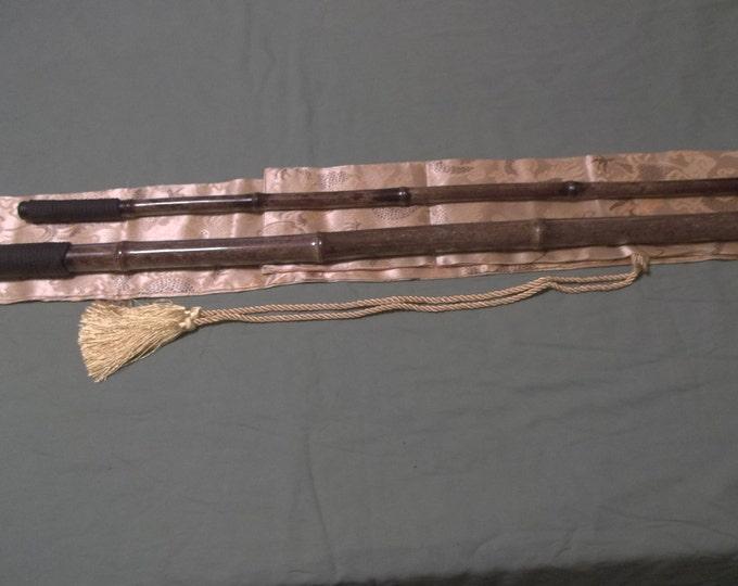 Beautiful 2 Piece Black Bamboo Cane Set with Silk Bag