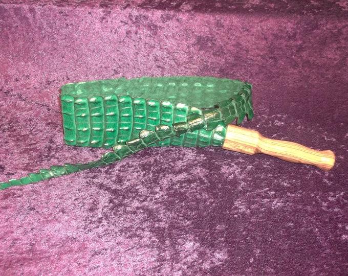 Beautiful Green Genuine Nile Crocodile Snapper with a Hand Turned Zebra Wood Handle!