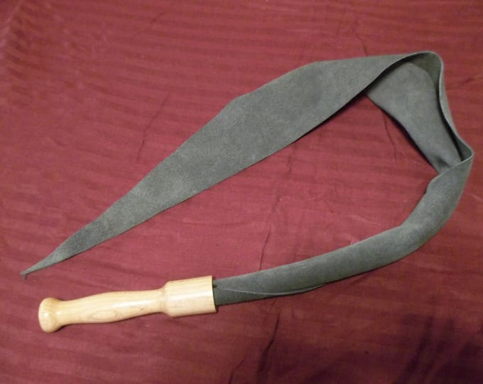Beautiful Charcoal Grey Suede Dragon's Tongue with a Hand Turned Maple Handle!