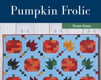 Pumpkin Frolic Quilt Pattern - PDF Digital Download - Simple - Modern - Beginner - Wall Hanging - Twin/Full - Queen - Halloween - Fall