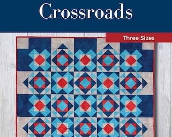 Crossroads Quilt Pattern - PDF Digital Download - Simple - Modern - Intermediate - Throw - Twin/Full - Queen/King - Two Blocks - Blue - Gray