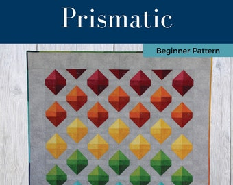 Prismatic Quilt Pattern - PDF Digital Download - Simple - Easy - Modern - Beginner - Throw - Lap - Rainbow - One Quilt Block - Colorful