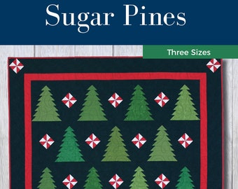 Sugar Pines Quilt Pattern - Simple - Modern - Confident Beginner - Christmas - Wall Hanging - Twin/Full - Queen - Xmas - Red and Green