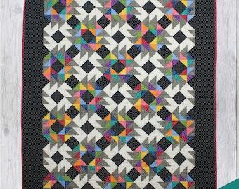 Cutting Edge Quilt Pattern - PDF Digital Download - Simple - Modern - Intermediate - Scrappy - Throw - Twin/Full - Queen/King - Two Blocks