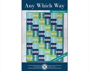 Any Which Way Quilt Pattern - Simple - Easy - Modern - Beginner - Throw - Lap - Baby -  Masculine - One Quilt Block