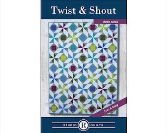 Twist & Shout Quilt Pattern - PDF Digital Download -  Simple - Modern - Geometric - Confident Beginner - Throw/Lap - Twin - Full/Queen