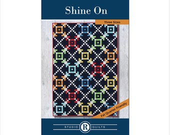 Shine On Quilt Pattern - PDF Digital Download - Simple - Modern - Confident Beginner - Masculine - Baby - Twin - Full/Queen - Two Blocks