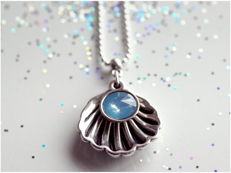 Playful necklace  gold rose gold /& silver  pendant made of shell and glass bead in light blue  70 cm long