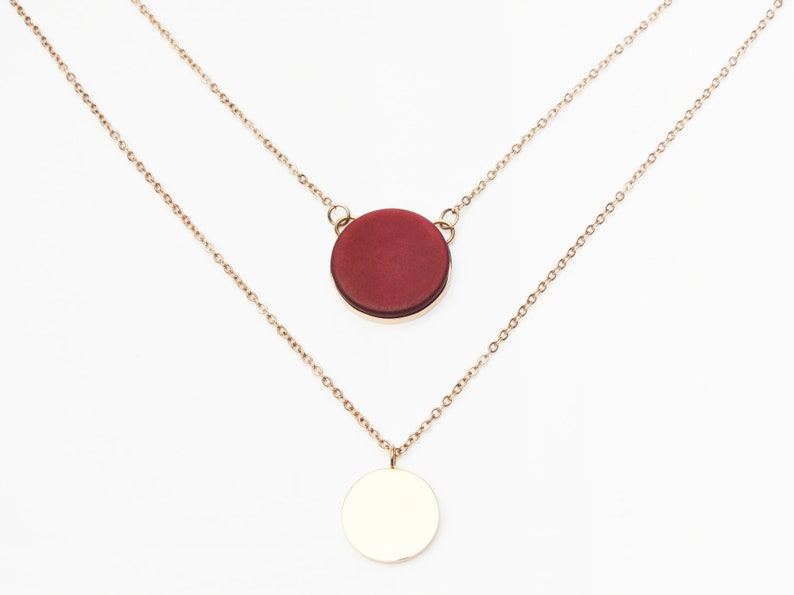 Coins Necklace Rose Gold Red Layering Look Stainless Steel image 1