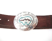 Navajo Leander Nezzie Sterling Silver Bear Buckle With Chip Inlay Turquoise And Coral 31 Inch