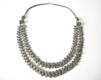 Rajasthan Tribal Spiral Coiled Silver Wire Necklace