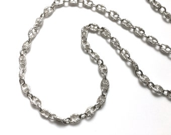 Unique Sterling Silver Chain Link Necklace 32.25 Inches