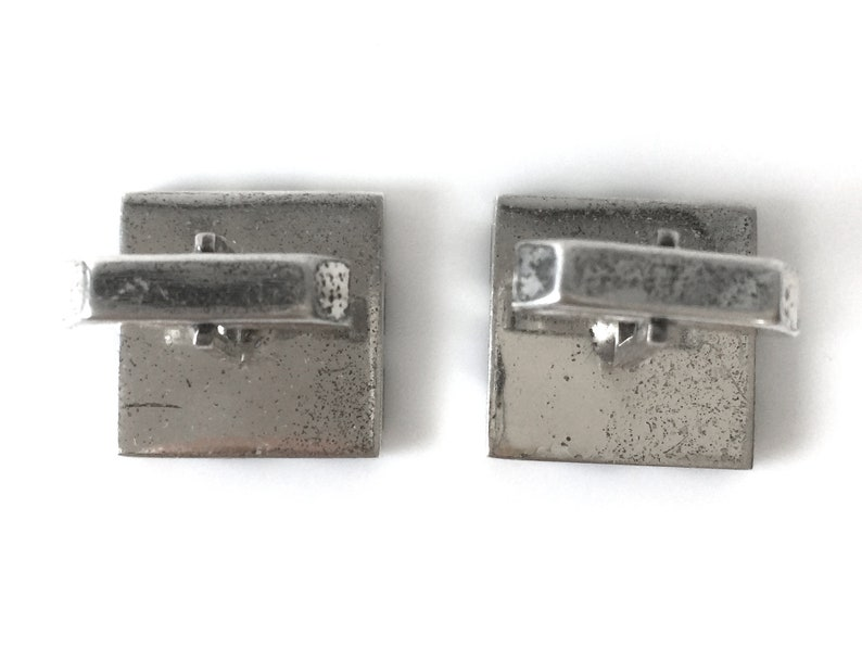 Fenwick And Sailors Sterling Silver Square Cuff Links With Diagonal Wood Inlay