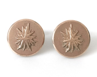 Mid Century Beverly Hilton Hotel Gold Filled Cufflinks With Modern Layered Star Motif Dated 1955