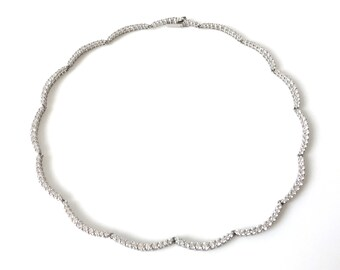 CZ Sterling Silver Scallop Choker Necklace
