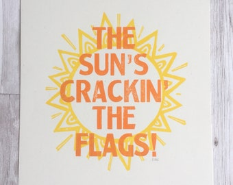 603ff75969a The Sun s Cracking The Flags - Liverpool - Scouse Sayings - Letterpress  Print - Funny Sayings - Wall art - Sun art - gift for scouser