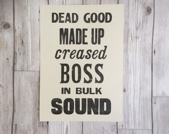 Liverpool - Scouse Sayings - Funny print - Letterpress - Happy Scouser - scouse dictionary - Dead Good - gift for scouser - Scouse slang